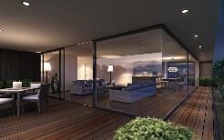 Terrasse mit Blick in Küche und Ess-/Wohnbereich - Visualisierung