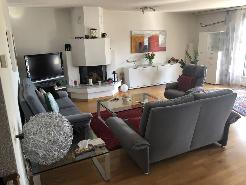 Wohnzimmer mit Cheminée und Parkettboden